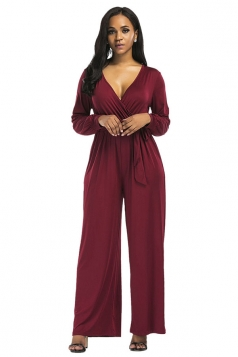 Womens Sexy Long Sleeve Deep V-Neck Bandage Bow Plain Jumpsuit Ruby