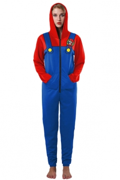 Womens Hooded Zipper Slant Pockets Super Mario Printed Jumpsuit Blue