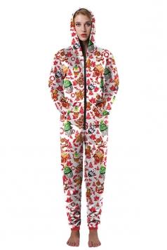 Women Zipper Hooded Slant Pocket Christmas Tree Printed Jumpsuit Coral