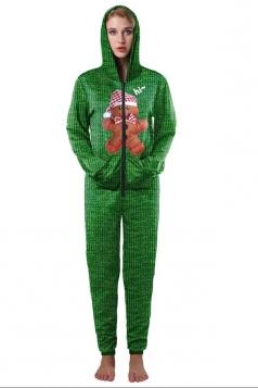 Christmas Zipper Hooded Slant Pockets Bear Printed Jumpsuit Dark Green