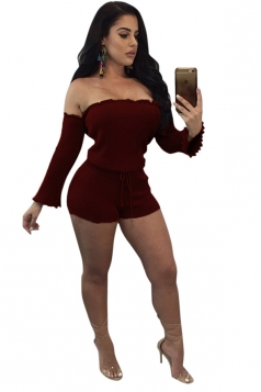Womens Sexy Off Shoulder Long Sleeve Drawstring Plain Romper Ruby