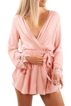 Womens Sexy Deep V-Neck Long Sleeve Lace Bandage Plain Romper Pink