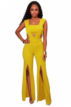 Womens Sexy V-Neck Chest Wrap Side Slit Sleeveless Jumpsuit Yellow