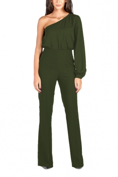 Women Sexy One Shoulder Bishop Sleeve High Waisted Jumpsuit Army Green