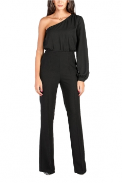 Womens Sexy One Shoulder Bishop Sleeve High Waisted Jumpsuit Black