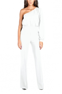 Womens Sexy One Shoulder Bishop Sleeve High Waisted Jumpsuit White