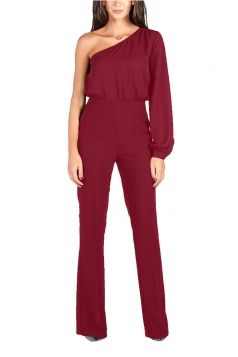 Womens Sexy One Shoulder Bishop Sleeve High Waisted Jumpsuit Ruby