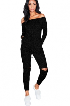 Womens Sexy Off Shoulder Long Sleeve Split Drawstring Jumpsuit Black