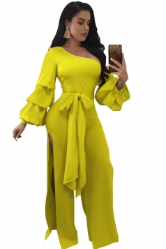 Womens Sexy Side Slit Puff Sleeve Bowknot One Shoulder Jumpsuit Yellow