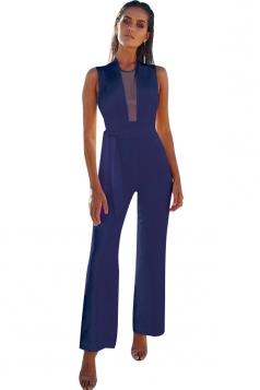 Womens Sexy Sleeveless Deep V-Neck Bandage High Waisted Jumpsuit Blue