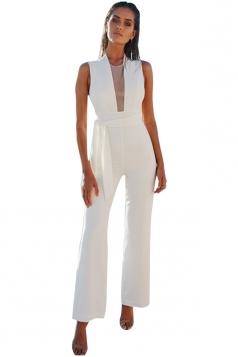 Womens Sexy Sleeveless Deep V-Neck Bandage High Waisted Jumpsuit White