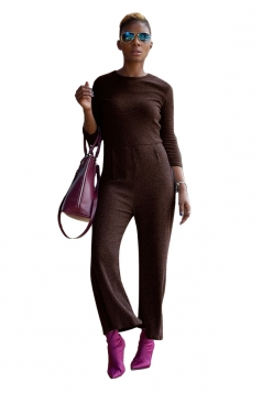 Womens Casual Crew Neck 3/4 Length Sleeve Plain Jumpsuit Coffee