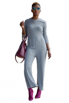 Womens Casual Crew Neck 3/4 Length Sleeve Plain Jumpsuit Light Gray