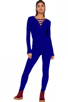 Womens Sexy Lace Up High Waisted Long Sleeve Plain Jumpsuit Blue
