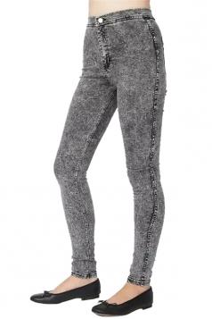 Womens High Waist Ankle Length Plain Skinny Pencil Jeans Black
