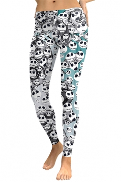Womens Slimming Ankle Length Leaves Ghost Printed Leggings White