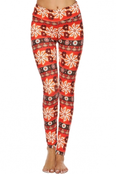 Womens High Waisted Slimming Snowflake Printed Christmas Leggings Red