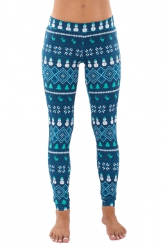 Womens Snowman Reindeer Snowflake Christmas Tree Printed Leggings Blue