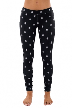 Womens Ankle Length Skinny Snowflake Printed Christmas Leggings Black