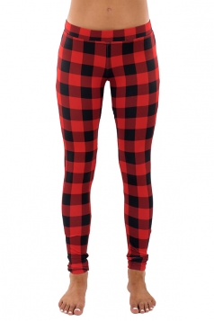 Womens Slimming Fitness Ankle Length Plaid Printed Leggings Dark Red