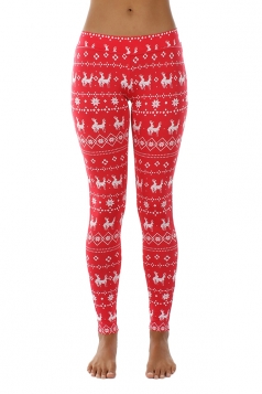 Womens Ankle Length Snowflake And Reindeer Printed Leggings Red
