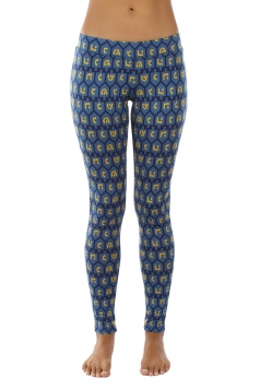 Womens Ankle Length Hanukkah Dreidel Printed Leggings Sapphire Blue
