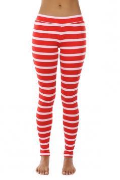 Womens Skinny Elastic Ankle Length Cross Stripe Printed Leggings White