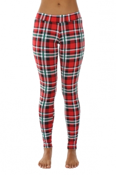 Womens Skinny Ankle Length Plaid Printed Christmas Leggings Ruby