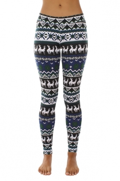 Womens Snowflake And Reindeer Printed Christmas Leggings Navy Blue