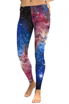 Womens Skinny Elastic Ankle Length Galaxy Printed Leggings Blue