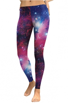 Womens Skinny Elastic Ankle Length Galaxy Printed Leggings Rose Red
