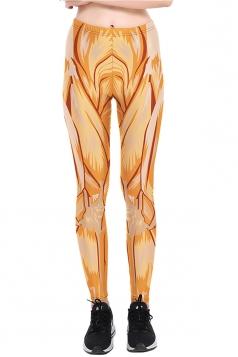 Womens Halloween Skinny Ankle Length Muscle Printed Leggings Orange