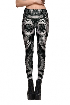 Womens High Waisted Halloween Skull Flower Printed Leggings Dark Gray