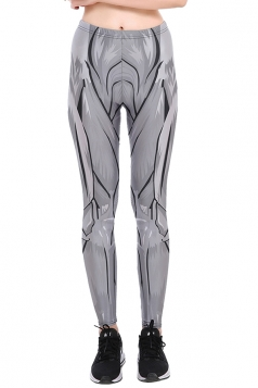 Womens Halloween Skinny Ankle Length Muscle Printed Leggings Gray