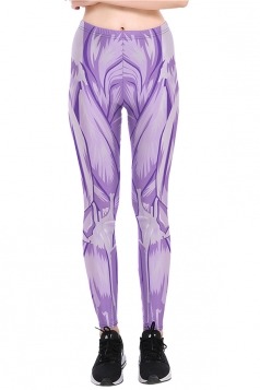 Womens Halloween Ankle Length Muscle Printed Leggings Light Purple