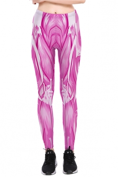Womens Halloween Skinny Ankle Length Muscle Printed Leggings Rose Red