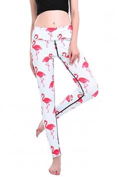 Womens Elastic Skinny High Waisted Flamingoes Printed Leggings Pink