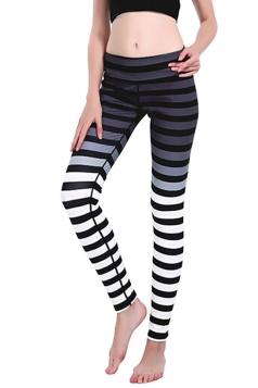 Womens Skinny Ankle Length Stripes Printed Leggings Dark Gray