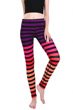 Womens Skinny Ankle Length Stripes Printed Leggings Dark Purple