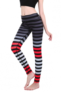 Womens Skinny Ankle Length Gradient Color Stripes Printed Leggings Red