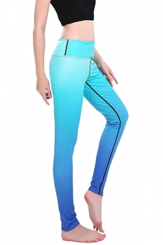 Womens Skinny Ankle Length Gradient Color Printed Leggings Blue