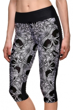 Womens Elastic Skinny Halloween Skull Printed Capri Leggings Dark Gray