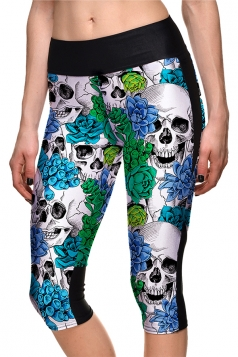 Womens Skinny Halloween Flower Skull Printed Capri Leggings Dark Green