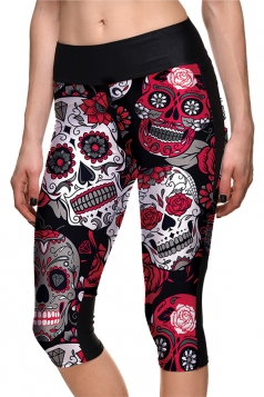 Womens Skinny Halloween Skull And Rose Printed Capri Leggings Dark Red
