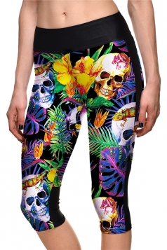 Womens Elastic Halloween Leaves And Skull Printed Capri Leggings Green