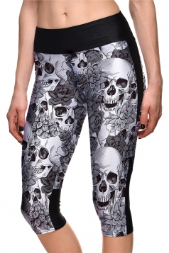 Womens Skinny Halloween Rose And Skull Printed Capri Leggings Gray