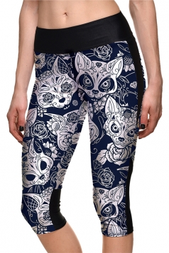 Womens Elastic Halloween Cat Flower Printed Capri Leggings Light Gray