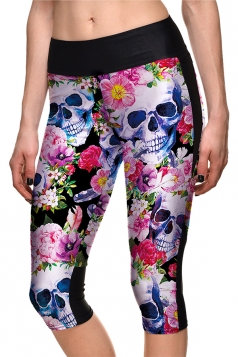Womens Skinny Halloween Flower And Skull Printed Capri Leggings Purple