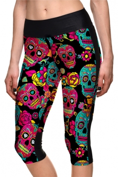 Womens Elastic Halloween Skull And Flower Printed Capri Leggings Red