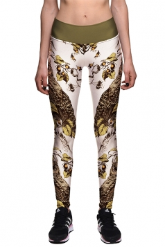 Womens Skinny High Waisted Owl And Leaves Printed Leggings Camel